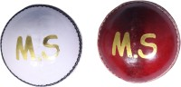 Metro Sports Leather White And Red Cricket Ball -   Size: 5,  Diameter: 23 Cm (Pack Of 2, Red, White)