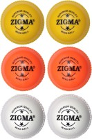 Zigma Wind Cricket Ball -   Size: 6,  Diameter: 7.15 Cm (Pack Of 6, White, Orange, Yellow)
