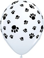 Qualatex Paw Prints-A-Round Printed Balloon (White, Pack Of 1)