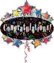 Anagram Super Shape Congratulations Marquee Printed Balloon - Black, Pack Of 1
