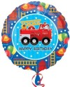 Anagram Fire Engine Fun Birthday - 18 Inch Printed Balloon - Multicolor, Pack Of 1