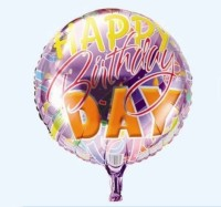 Funcart Italic Happy Birthday Round Foil Printed Balloon (Multicolor, Pack Of 1)