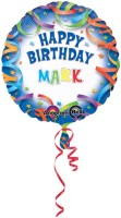 Anagram Happy Birthday Streamers Personalized Printed Balloon (Blue, Pack Of 1)