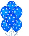 Themez Only Polka Dots Printed Balloon - Blue, White, Pack Of 25