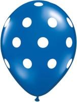 Funcart Polka Dots Printed Balloon (Blue, Pack Of 5)