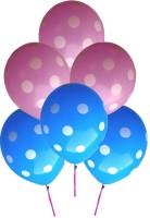 Grandshop Polka Dot Extra Large Mini Pack Printed Balloon (Pink, Blue, Pack Of 6)