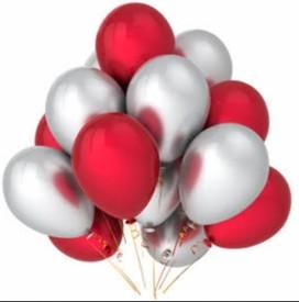 PartyballoonsHK Solid HK0204 Metallic Red, Silver Balloon