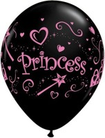 Qualatex Princess -Onyx,White,Pink Printed Balloon (Black, Pack Of 1)