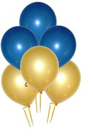 GrandShop Metallic HD Solid Balloon (Blue, Gold, Pack Of 50)