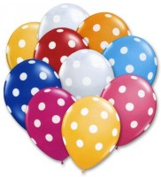Mypartyshoponline Assorted Polka Dot Printed Balloon (Multicolor, Pack Of 10)