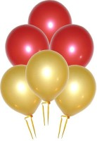 GrandShop Metallic HD Solid Balloon (Red, Gold, Pack Of 50)