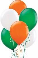 PartyballoonsHK Solid Orange , White & Green ( Tri Color) Balloon (Orange, Green, White, Pack Of 50)