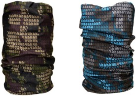 Noise Combo Of Noise 13 In 1 Blue Brown Pixels And Military Pixels Headwrap Men's Printed Bandana Pack Of 2