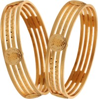 Fashion Fusion Inessa Alloy Yellow Gold Bangle Set (Pack Of 2)