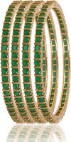 American Diamond Beautiful Brass, Copper Emerald 18K Yellow Gold, Rhodium Plated Bangle Set Pack Of 4