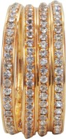 Gold & More Gold Plated Diamond Copper Cubic Zirconia Yellow Gold Plated Bangle Set Pack Of 4 - BBAE7R5YJDWYU2JG