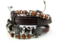 Streetsoul German Cross Leather Bracelet Set Pack Of 2