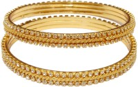 Jewbang White Gold Diamond Style Alloy Brass Plated Bangle Set Pack Of 2