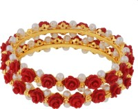 JANKI JEWELLERS Flower Shape With Pearl Alloy Pearl Rhodium Bangle Set Pack Of 2