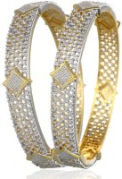 Jewels Gold Alloy Cubic Zirconia Brass Bangle Set Pack Of 2