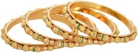 Johri Bazar Golden Beads Alloy Yellow Gold Plated Bangle Set Pack Of 4