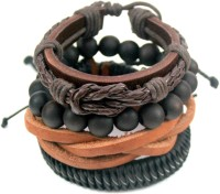 Streetsoul Value Pack 40 Brown  Leather Bracelet Set Pack Of 4