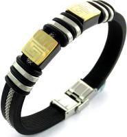 The Jewel Box Designer Rubber Stainless Steel Black Silver Bracelet