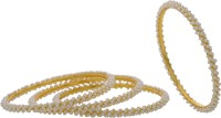 Hyderabad Jewels Alloy, Silver Pearl Bangle Set (Pack Of 4)