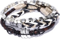 ToniQ Homme Set Of 3 Fabric, Metal, Leather Bracelet Set Pack Of 3