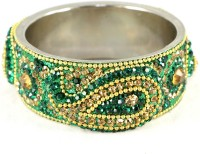 The Fine World Dark Green Broad Kada With The Traditional Ambi Pattern Finished Metal Zircon Silver Plated Bangle