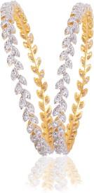 American Diamond Alloy Cubic Zirconia Yellow Gold, Rhodium Bangle Set