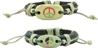 Alpha Man AM_CLB_PBWH Leather Bracelet Set Pack Of 2