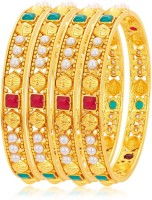 Sukkhi Alloy 18K Yellow Gold Bangle Set Pack Of 4