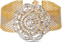 Alysa American Diamond Daniella Brass, Copper, Silver Cubic Zirconia Yellow Gold, Rhodium Plated Bracelet