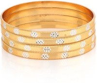 Ratnakar Golden Stone Copper Yellow Gold Plated Bangle Set Pack Of 4