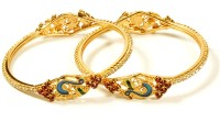 Jewbang Peacock Style Alloy Brass Bangle Set (Pack Of 2)