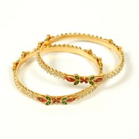 Jewbang Classic Enamel Coat Style Alloy Brass Plated Bangle Set Pack Of 2
