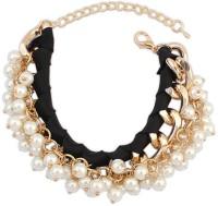 Crunchy Fashion Pleasant Pearls Charm Black Alloy Rose Gold Bracelet
