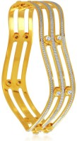 Sukkhi Designer Dancing Stone Alloy Cubic Zirconia 24K Yellow Gold, Rhodium Plated Bangle