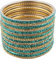 Newsantosh Attractive Bollywood Style Alloy Crystal Rhodium Plated Bangle Set Pack Of 16