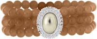 Spargz Brown Beads With CZ Stone Alloy White Gold Plated Bracelet
