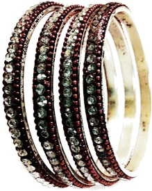 Lakshmi Narasimha Silver Garnet Bangle Set