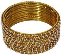 Pourni Pourni Pearl And Mehndi Color 12 Bangles-ABP62 (12 Pcs) Brass Pearl Brass 8 Bangle Set (Pack Of 12)