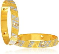 Sukkhi Sublime Dancing Stone Alloy 18K Yellow Gold, Rhodium Plated Bangle Set Pack Of 2