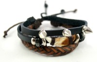 Streetsoul Lion Nail With Spike Leather Bracelet Set Pack Of 2