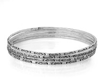 Voylla Oxidised Plating Alloy Zircon Silver Plated Bangle Set Pack Of 4