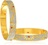Sukkhi Excellent Dancing Stone Alloy Cubic Zirconia 24K Yellow Gold, Rhodium Plated Bangle Set Pack Of 2