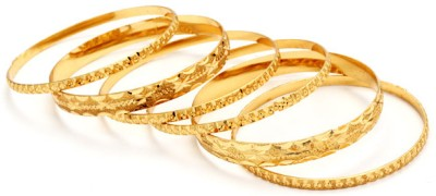 Ethnic Jewels Brass 14K Yellow Gold Plated Bangle Set Pack of 6