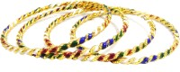 Glamche Gold Plated Bangles Alloy Yellow Gold Plated Bangle Set Pack Of 4