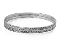 Voylla Alloy Zircon Silver Plated Bangle Set Pack Of 4
